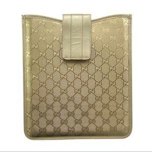 Gucci   Authentic Gold Gucci Monogram Tablet Case